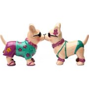 Chihuahua Beach Style 3 1/2'' tall Magnetic Salt and Pepper Shakers