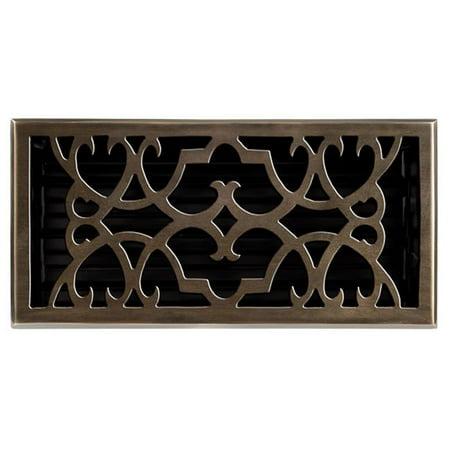 Solid Cast Brass Victorian 6in. X 12in. Floor Register in Antique Brass Finish- 120HR AB (Ab Antique Brass Cast)