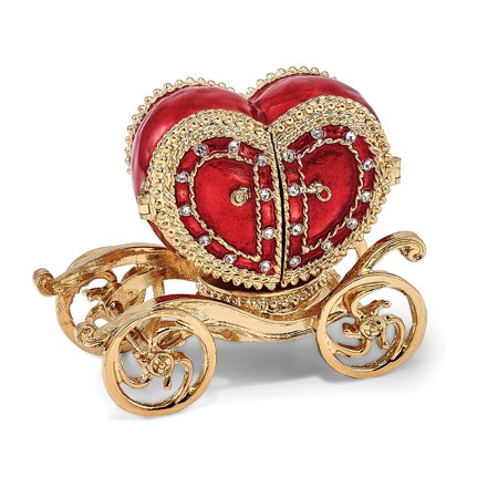 Bejeweled Trinket Box - Bejewel Heart Carriage Ring Holder Trinket Box