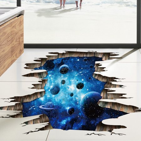 3D Galaxy Planet Space Murals Creative Wall Decal For Floor,Ceiling ,Window Removable Wall Stickers Self-adhesive Wallpaper