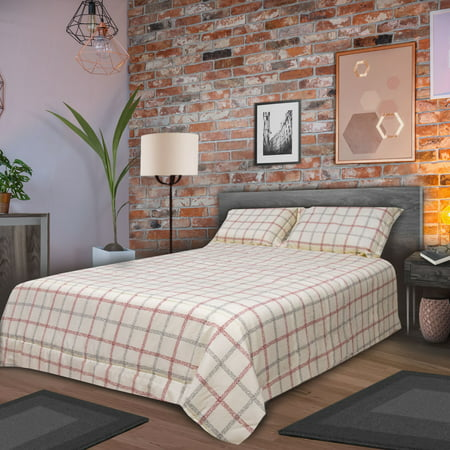 HONEYMOON HOME FASHIONS Comforter Set Twin Bed Down Alternative Lightweight for All Year Round, Four Wire Grid