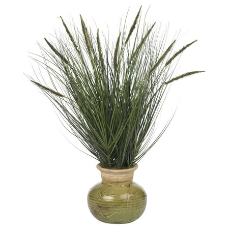 (Nearly Natural Grass with Mini Cattails Silk Plant)