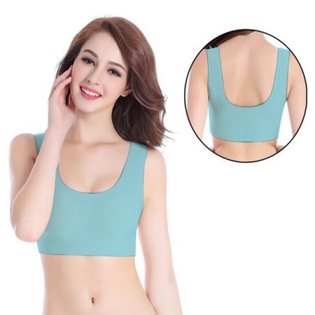 Outad Comfort Wire Free Sports Bra For Women Girls Integrated Bra Gather Up Yoga Vest Training Running Bras For Full Cups Blue