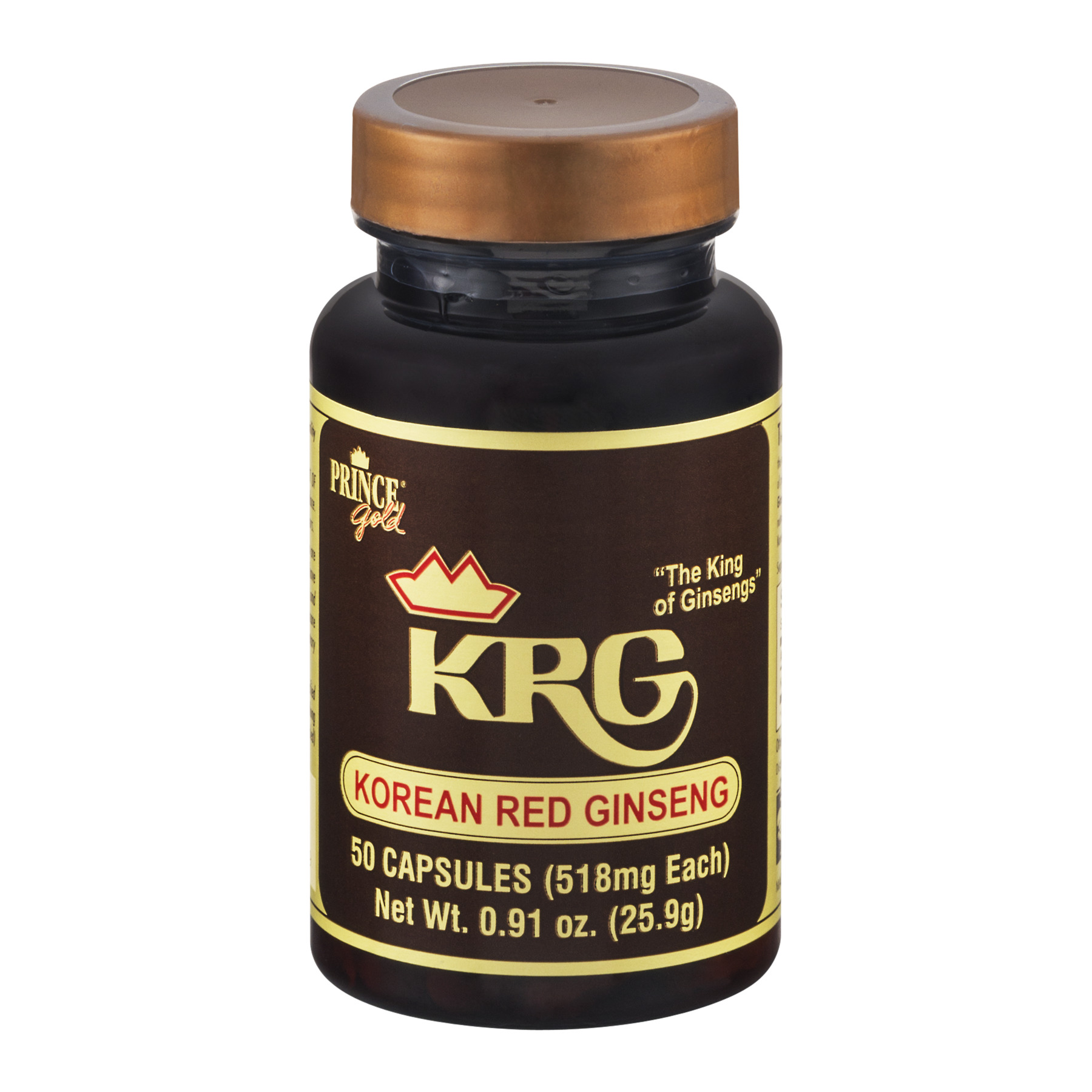 Prince Gold KRG Korean Red Ginseng Capsules - 50 CT0.91 OZ