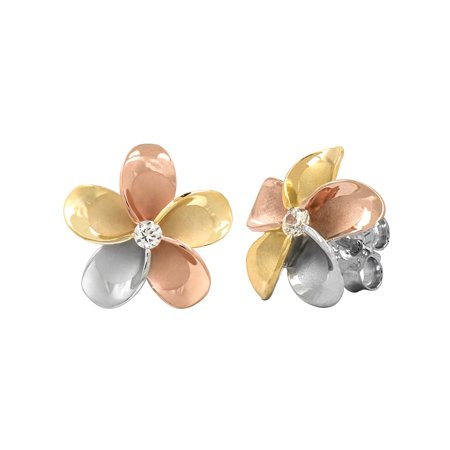 14k Gold Tri-Color Plated Sterling Silver Plumeria CZ Stud - Tri Color Gold Plated