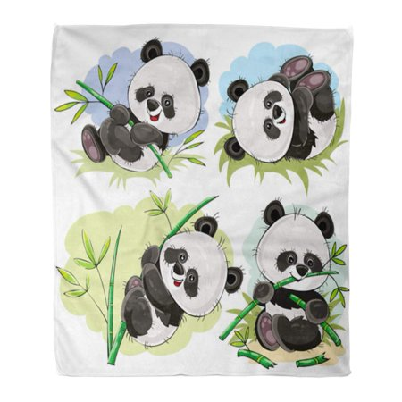 Baby Bear Flannel (ASHLEIGH Flannel Throw Blanket Funny Panda Bear Baby Playing on Grass Climbing Bamboo Soft for Bed Sofa and Couch 50x60 Inches)