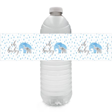 Blue Elephant Baby Shower Bottle Labels - 24ct - Girl or Boy Baby Shower Favor Decorations - 24 Count Water Bottle Stickers