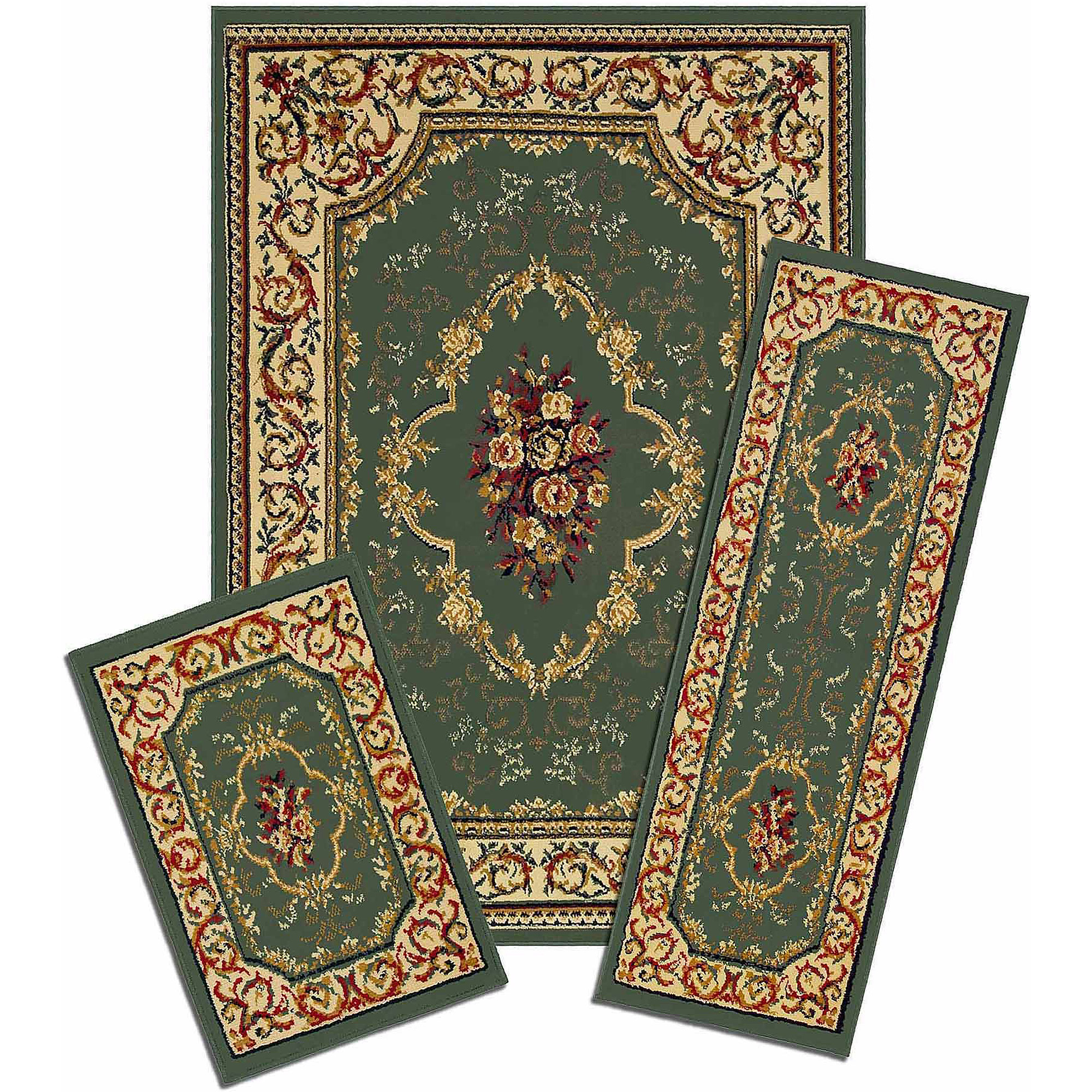 Capri 3 Piece Rug Set, Rose Garden