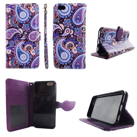 Purple Paisley Wallet Folio Case for iphone 6 6S Fashion Flip PU Leather Cover Card Cash Slots & - Iphone Leather Flip Case