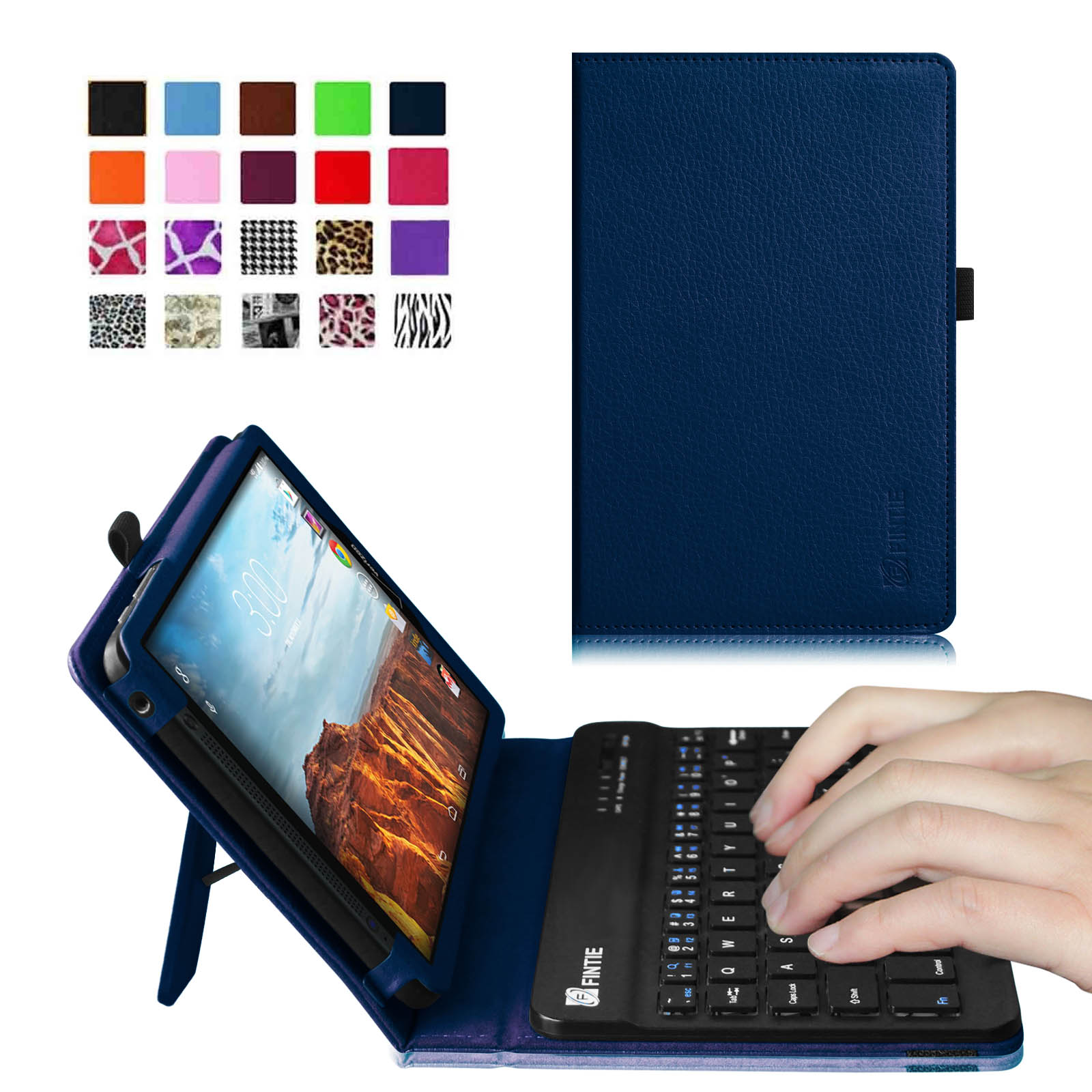 Verizon Ellipsis 8 4G LTE Tablet Keyboard Case - Fintie Slim Fit PU Leather Stand Cover with Removable Keyboard, Navy