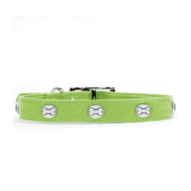 Rockinft Doggie 844587020323 . 75 inch x 14 inch Leather Collar with Heart Rivets - Green