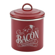 Ayesha Collection 4 x 4-Inch Enamel on Steel Bacon Grease Can, Sienna Red