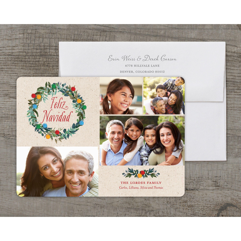Feliz Poms - Deluxe 5x7 Personalized Holiday Feliz Navidad Card
