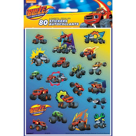 (4 Pack) Blaze and the Monster Machines Sticker Sheets, 4-Count - Monster Truck Stickers