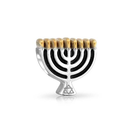 Chanukah Menorah Hanukkah Festival Charm Bead For Women 2 Tone 14K Gold Plated Sterling Silver Fits European Bracelet - image 2 de 2