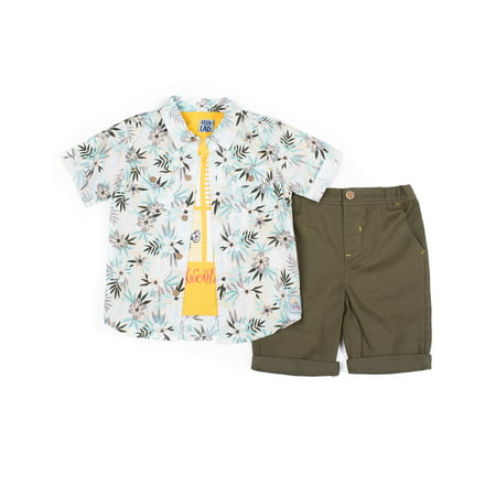 Short Sleeve Printed Poplin Button Up Shirt, Short Sleeve Graphic T-shirt & Drawstring Twill Short, 3pc Outfit Set (Baby Boys & Toddler Boys) (Turtle Dressing Up Outfit)
