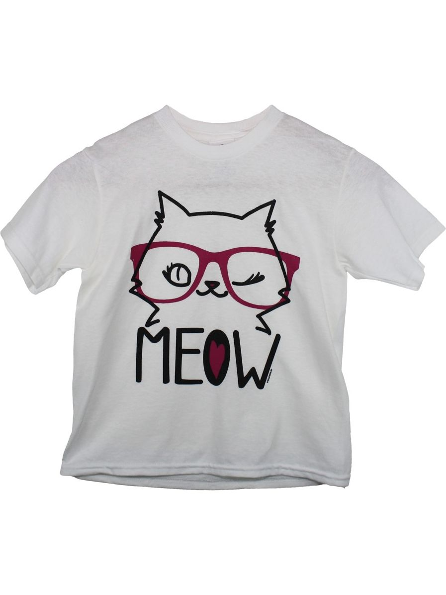 "Girls White ""Meow"" Cat Face Print Short Sleeve Cotton Trendy T-Shirt"