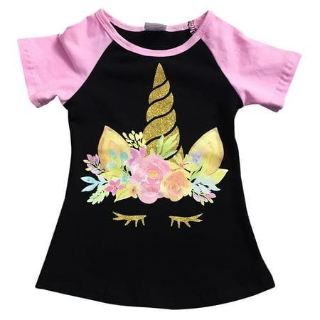Toddler Girls Short Sleeve Glitter Unicorn Floral Summer Raglan Top T-Shirt Tee Black 2T XS (P201508P) - Girls Glitter Toms