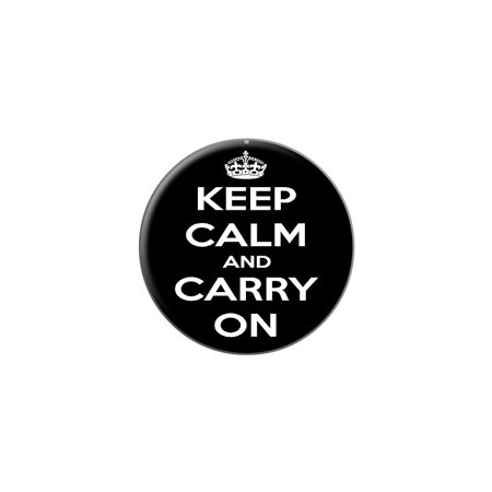 f534ef61649599 Graphics and More - Keep Calm and Carry On Black Lapel Hat Pin Tie Tack  Small Round - Walmart.com