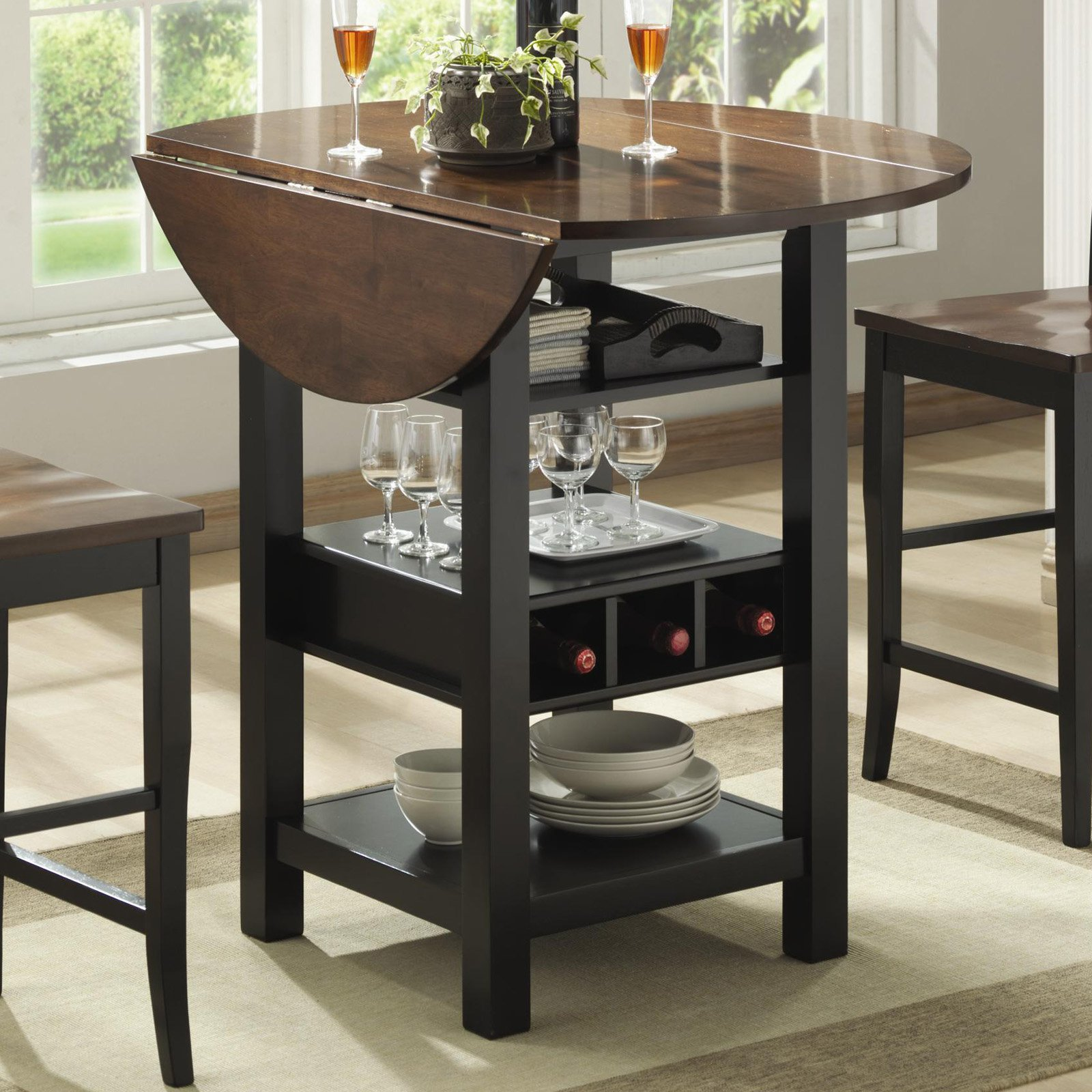 Kitchen drop leaf tables - Ridgewood Counter Height Drop Leaf Dining Table With Storage Walmart Com