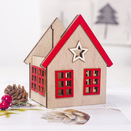 Festival Wood Ornaments House Candle Holder Festival Restaurant Decorations - image 6 de 6