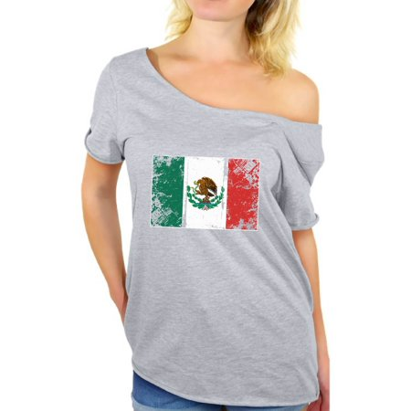 Awkward Styles Mexico Flag Off Shoulder Shirt Women