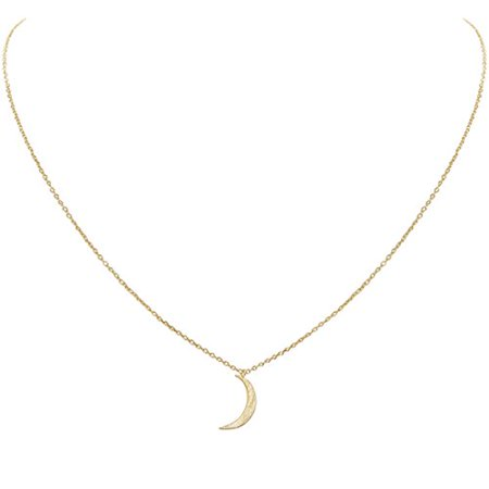 Tiny Crescent Moon Necklace - Delicate Celestial Pendant Curved Luna Chain Link, Gold-Tone Moon