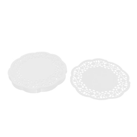 Home Paper Disposable Cake Dessert Holder Table Placemat White 14cm Dia 100pcs - Cake Table