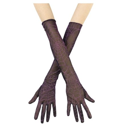 Fun World Spider Web Halloween Costume 2pc Gloves, Black Purple, One Size 20.5
