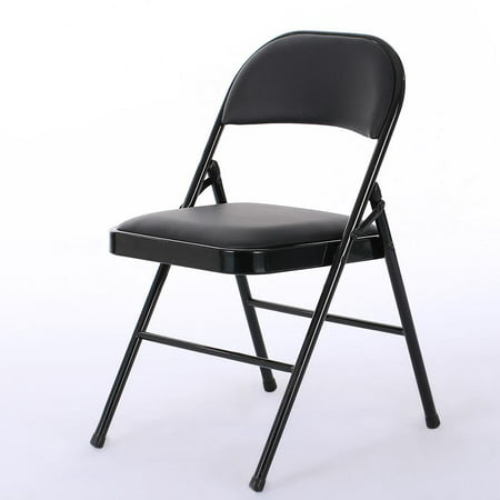 Ktaxon 6 Pack Folding Chairs Fabric Upholstered Padded Seat Metal Frame Furniture Black