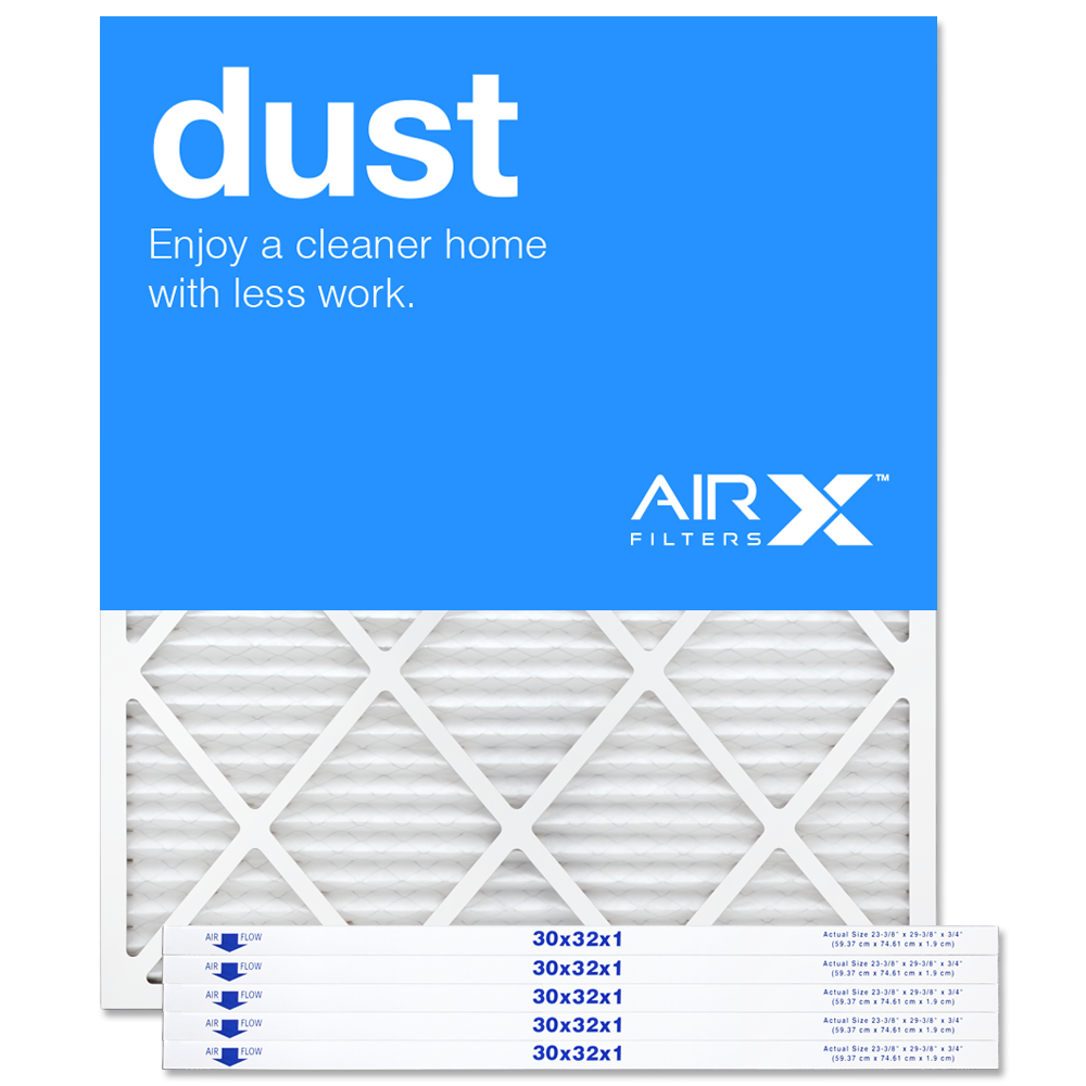 AIRx Filters Dust 30x32x1 Air Filter MERV 8 AC Furnace Pleated Air Filter Replacement Box of 6, Made in the USA