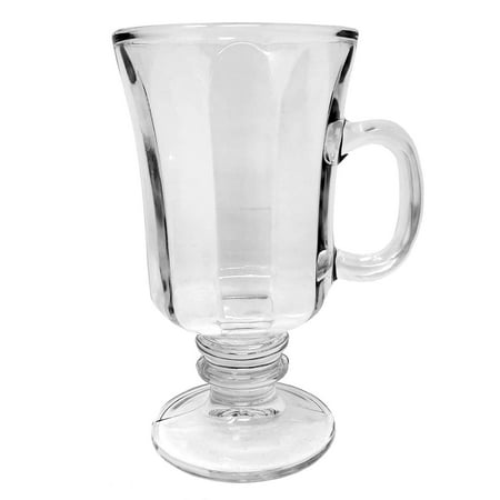 Glass Footed Compote (Set of 4 Thick Wall Glass Footed Irish Coffee Glass Mugs)