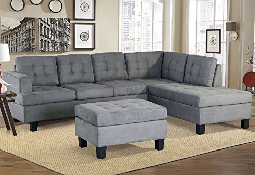 Harperu0026Bright Designs 3 Piece Sectional Sofa With Chaise And Ottoman, Suede  Fabric/6