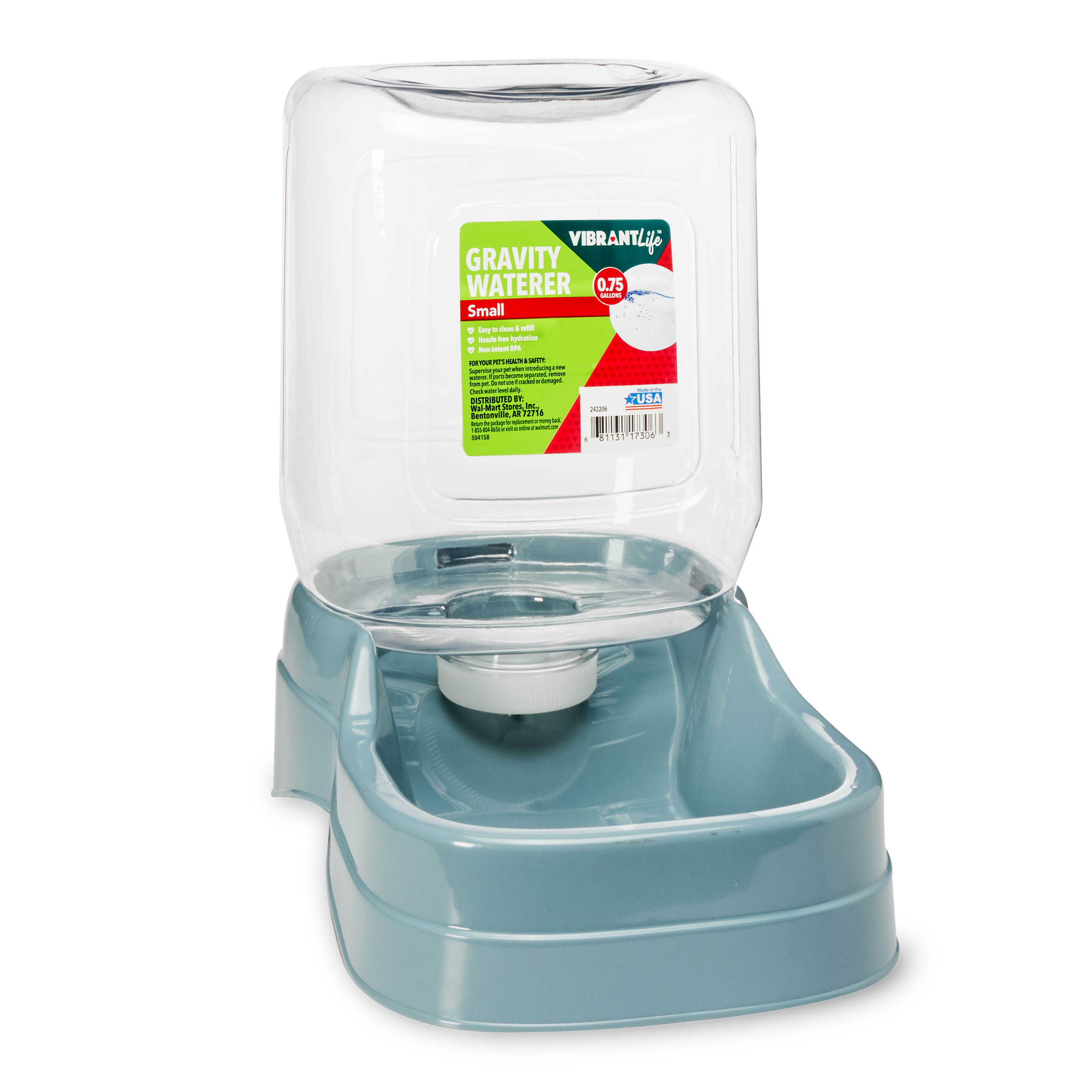 Vibrant Life Gravity Pet Waterer, Small, 0.75 Gal