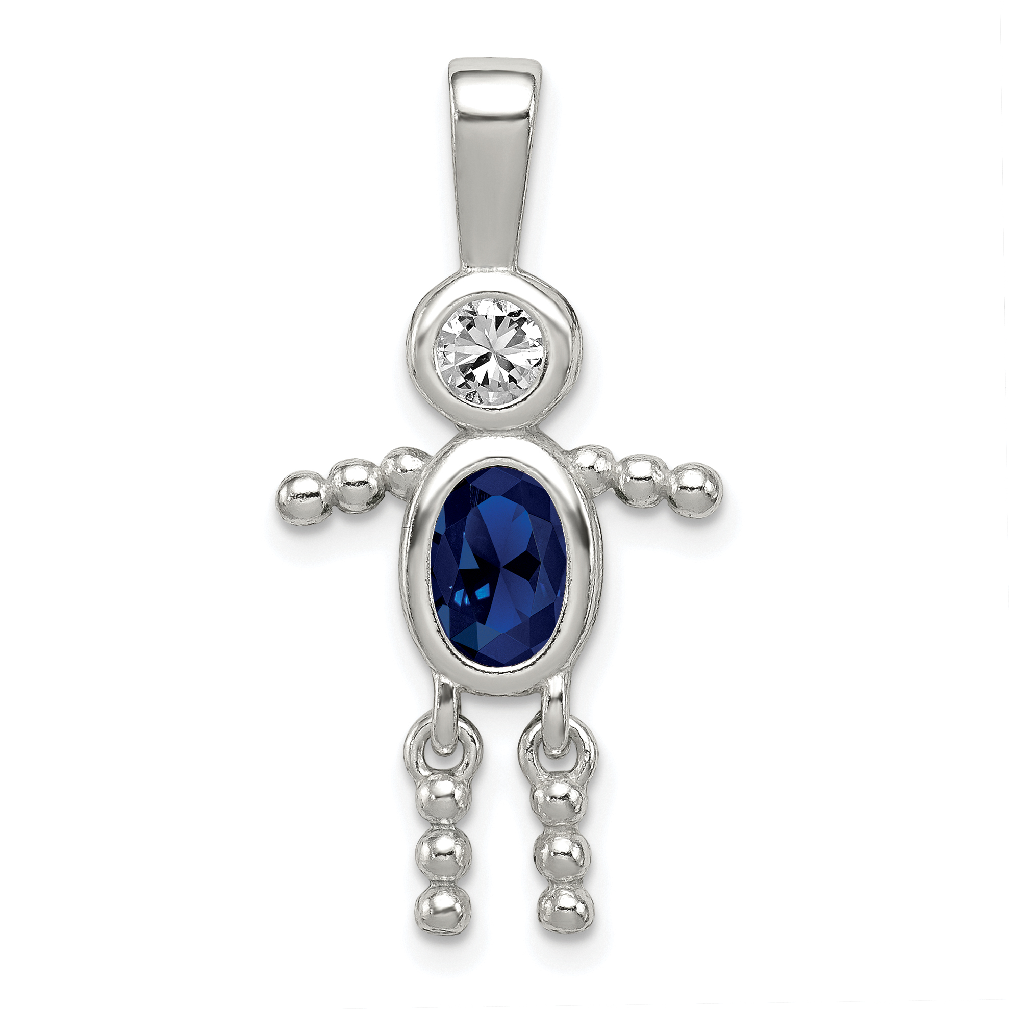 925 Sterling Silver Cubic Zirconia Cz September Glass Boy Pendant Charm Necklace Birthstone Kid Fine Jewelry Gifts For Women For Her - image 2 of 2