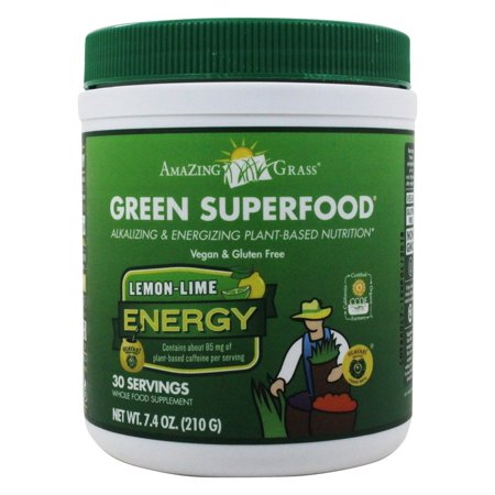 Amazing Grass - Vert SuperFood Energy Drink poudre 30 Portions Lemon Lime - 7,4 onces.