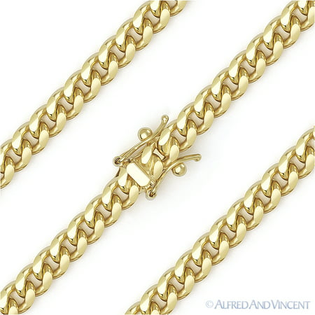 5.1mm Miami Cuban / Curb Link Italian Chain Necklace in Solid .925 Sterling Silver w/ 14k Yellow Gold (Curb Link Solid Gold Chain 14k)