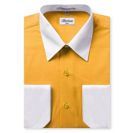 d856881a2 Berlioni Italy Men s Long Sleeve Two Tone Premium Dress Shirt