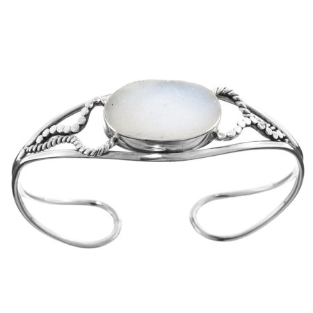 Handmade Sparkling Agate Druzy 925 Sterling Silver Cuff Bracelet, - Tibetan Silver Agate