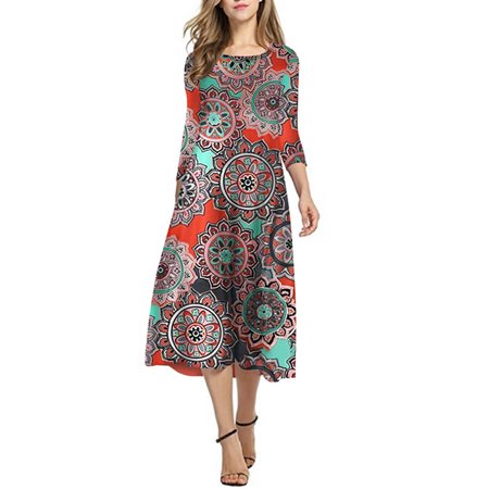 Women's Floral Boho 3/4 Sleeve Casual Loose Elegant Baggy Cocktail Midi Dress