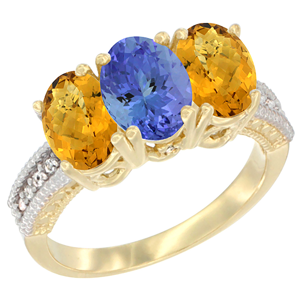 10K Yellow Gold Diamond Natural Tanzanite & Whisky Quartz Ring 3-Stone 7x5 mm Oval, sizes 5 10 by WorldJewels