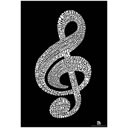 Paper Music Posters - Music Note Composer Names Text Poster - 13x19