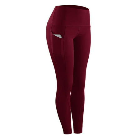 CYBER MONDAY DEALS!High Elastic Leggings Pant Women Solid Stretch Compression Sportswear Casual Yoga Running Leggings Pants With Pocket Women's High Waist Yoga Pants with Pockets Tummy Control Workout