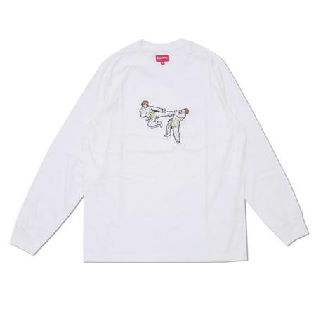 SUPREME NY White Karate Tee Long Sleeve T-Shirt,