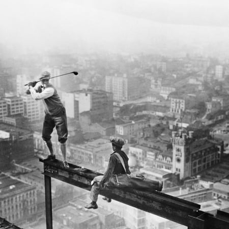 Golfer Teeing off on Girder High above City Golf Vintage Photo Print Wall Art ()