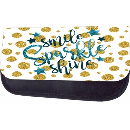 Smile Sparkle Shine Faux Glitter Print Jacks Outlet TM Nylon-Lined Cosmetic Case