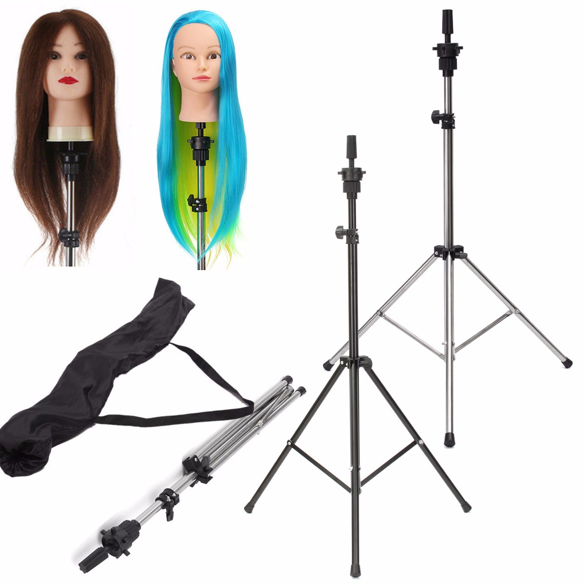 Adjustable Tripod Stand Holder for Hairdressing Training Practice Head + Bag USA