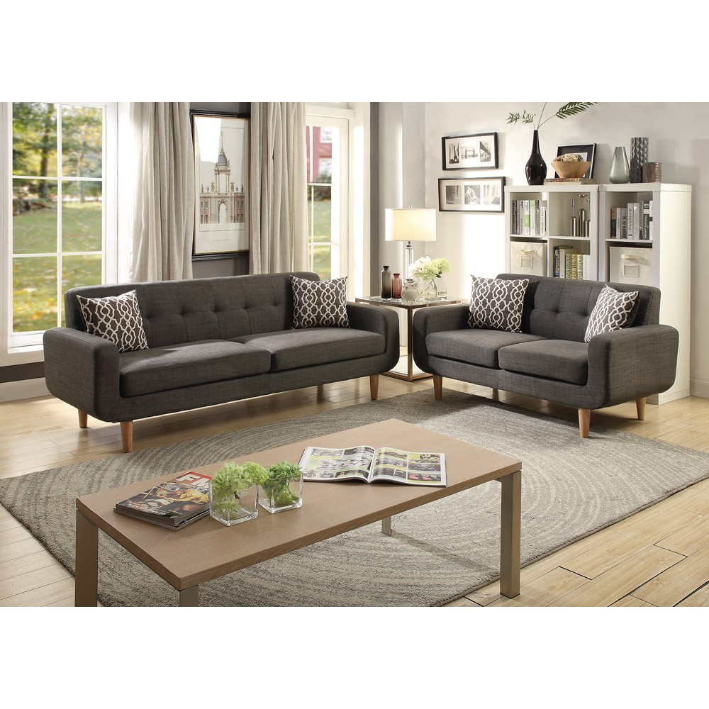 Dorris Fabric 2 Pieces Sofa Set With Accent Pillows In Ash Black