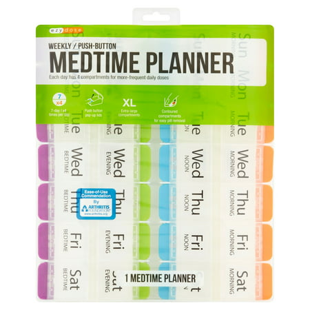 Ezy Dose 4x/Day Weekly Pill Organizer - 7 Day Medtime Planner with Push Buttons - Arthritis Friendly