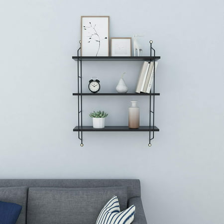 3 Shelf Wall - Hascon Wall Shelf 3 Tiers Rustic Floating Book Shelves Wall Mounted Industrial Wall Shelves Storage Shelf Heavy Duty HITC